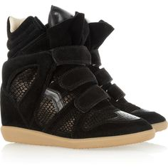 Isabel Marant Bazil suede and snake-effect sneakers found on Polyvore