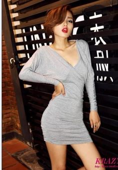 Grey  Deep V-Neck Slim Fit Sexy Long Bat Sleeves Open Back Asian Fashion Party Dress - $56.26 Korean Fashion Summer, Asian Fashion, Bat Sleeve, Open Toe Shoes, Mini Dresses, Asian Woman, Party Dress, V Neck, Deep