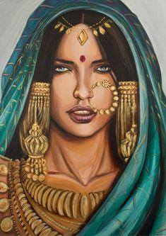 Banjara Art Print by Marisa JimA(c)nez - X-Small Indian Art Gallery, Indian Illustration, Indian Folk Art, India Art, Indian Art Paintings, Arabic Art, Painting Of Girl, Art Drawings Sketches, Art Plastique