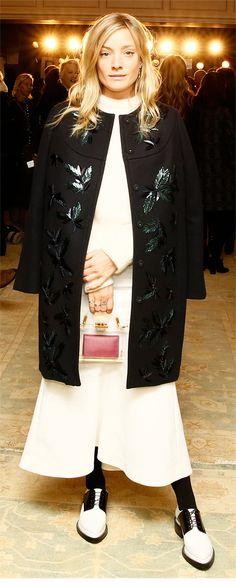 Kate Foley, in the Tory Burch Tasha coat and Julianna skirt
