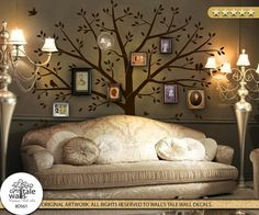 Large Family Tree Wall Decal with birds for picture frames.Photo frame tree wall art. Removable Vinyl decal, wall sticker, large size d561
