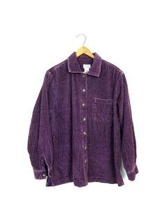 5a6977d5 Minimal Corduroy Rib Shirt 90s Long Sleeve Button Up RIBBED Shirt Slouchy  Grunge Top 1990s PURPLE Cotton Womens Medium