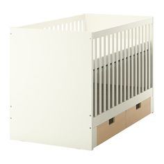 IKEA - STUVA, Crib with drawers, The bed base can be placed at two different heights.One bed side can be removed when the child is able to safely climb into and out of the bed.You can add STUVA drawers under the crib. They are sold separately and come in different colors to match the style in your child's room.