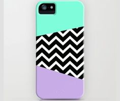Mint Green, Lavender And Black&White Chevron Phone Case