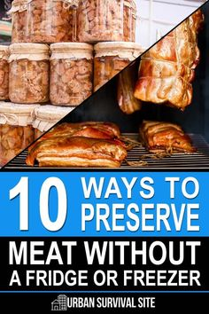 10 Ways to Preserve Meat Without a Fridge or Freezer Many preppers love to eat meat, but they tend to only store it in the fridge or freezer. What are they going to do for meat if the power grid goes down? Survival Food, Survival Prepping, Survival Skills, Homestead Survival, Outdoor Survival, Doomsday Survival, Survival Supplies, Survival Shelter, Survival Stuff