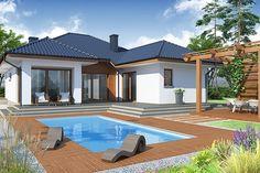 Am ales sa va prezentam astazi o casa de vis de 114 mp cu piscina si gradina de vis pentru 4 persoane. One Storey House, 2 Storey House Design, Spanish House, Sims House, Modern House Plans, Design Case, Home Fashion, Architecture Design, Home And Family