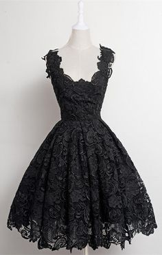 64c395655d A-Line Scalloped-Edge Knee-Length 50s Vintage Black Lace Prom Homecoming  Dress