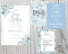 blue floral wedding invitaiton // slate gray by DillWeddingDesigns