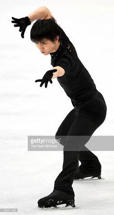 Yuzuru Hanyu of Japan in action during a training session ahead of the NHK Trophy ISU Grand Prix of Figure Skating at Big Hat on November 26, 2015 in Nagano, Japan.