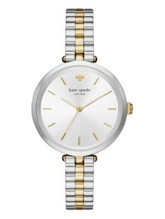 a wear-every day (and wear-with-everything) watch should have a delicate dose of shine. featuring a silver sunray dial with gold ip indexes, this two-tone kate spade new york holland watch is dainty a