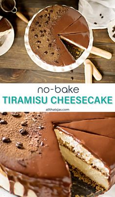 This delicious creamy tiramisu cheesecake topped with chocolate ganache will knock your socks off! Best of all, this cheesecake is a no bake cake so you can keep your oven off this summer! | allthatsjas.com | #tiramisu #cheesecake #nobake #ladyfingers #mascarpone #chocolateganache #easy #dessert #allthatsjas #recipes #baking #cake #Italian #recipeoftheday Tiramisu Speculoos, Tiramisu Cheesecake, Coffee Cheesecake, Cheesecake Desserts, Köstliche Desserts, Delicious Desserts, Dessert Recipes, Homemade Cheesecake, Classic Cheesecake