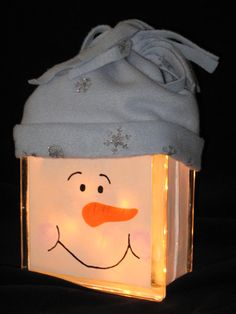 Snowman with Hat Glass Block Light from Etsy
