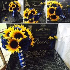 This listing includes 2 items 1 12 in round Wedding Bouquet Beautiful Silk Yellow Sunflowers & Silk Royal Blue Roses wrapped in White Satin Ribbon Crisscrossed in Royal Blue with Royal Blue Bow 1 Roya