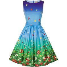 'Audrina' Blue Strawberry Fields Print Swing Dress ($31) ❤ liked on Polyvore featuring dresses, blue pattern dress, trapeze dress, tent dress, mixed print dress and blue dress