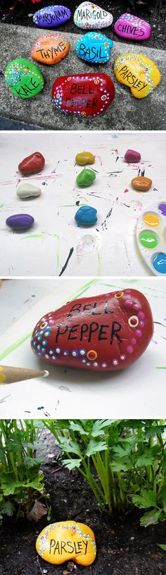 Painted Rock Garden Markers | Click Pic for 22 DIY Spring Crafts for Kid to Make | Easy Spring Craft Ideas for Toddlers