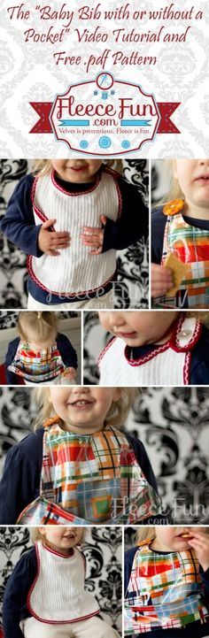 Don't you just hate messes? This bib has a generous size for great cover! Make it with or without a pocket with easy to follow instructions and video tutorial. Free .pdf pattern included!