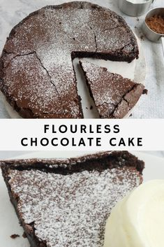 A simple and quick homemade flourless chocolate cake makes an easy last minute dessert for families and friends get together. The best indulgent gluten free rich and fudgy recipe. Perfect for Easter and Passover too! Quick Dessert Recipes, Delicious Cake Recipes, Homemade Desserts, Homemade Cakes, Easy Desserts, Best Flourless Chocolate Cake, Gluten Free Chocolate Cake, Chocolate Recipes, Flourless Desserts