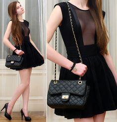 H&M Gold Earrings, Black Bag, American Apparel Black Bodysuit, H&M Black High Waisted Skirt, Embis Black Heels, Accessorize Black Leather Bow Watch