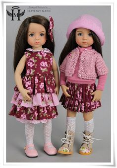 "[Effner] OOAK Pink Burgundy Outfit Ensemble | 13"" Little Darling Clothes by HM…"