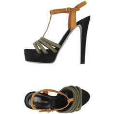 Sergio Rossi Sandals (€515) ❤ liked on Polyvore featuring shoes, sandals, military green, print shoes, olive green sandals, sergio rossi sandals, leather sole sandals and olive green shoes