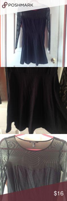 Mesh Bodice Skater Dress Top half and sleeves sheer mesh material • skater cut Forever 21 Dresses