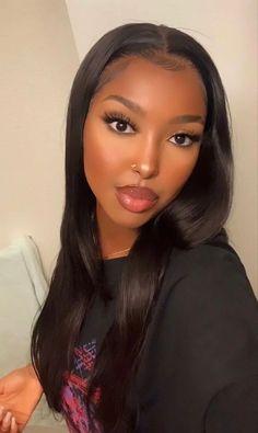 My Hairstyle, Wig Hairstyles, Straight Hairstyles, Black Girl Makeup, Girls Makeup, Makeup Black Women, Beauty Makeup, Hair Makeup, Hair Beauty