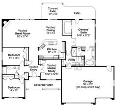 First Floor Plan of Contemporary European Ranch House Plan 59701 ~ familyhomeplans