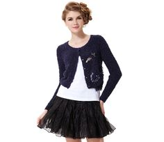 $19.99  Cropped Knit Sweater With Swan Decoration#group buying#whatabeautifullife.com