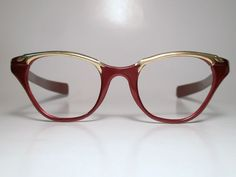 7f26e94df46 Vintage Tura Aluminum Cat Eye Eyeglasses Frame USA Red w Gold Highlights  Med