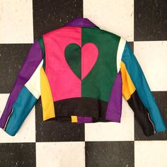 Back of jacket. Yes, it is really that good. See previous post to claim.  #1980s #colorblock #leatherjacket #inshopnow #thegetupvintage