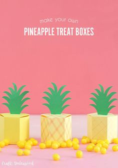 Make your own sweet little pineapple treat boxes with just paper, scissors & glue! They're so easy to make with this free gift box template.