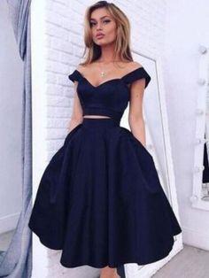 A-Line/Princess Off-the-Shoulder Sleeveless Knee-Length Taffeta Dresses