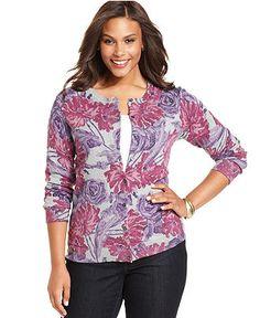 Karen Scott Plus Size Sweater, Long-Sleeve Floral-Print Cardigan - Plus Size Tops - Plus Sizes - Macy's