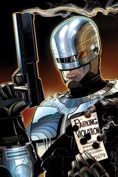 Robocop // artwork by Walter Simonson and Ivan Nunes cover art for Terminator/Robocop: Kill Human Home Disney Movie, Disney Movie Posters, Wallpaper Animes, D Mark, Cultura Pop, Sci Fi Fantasy, Fantasy Movies, Sci Fi Art, Comic Books Art