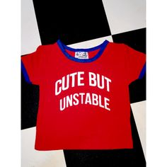 e4c15c3dea About me (and probably of the female population)   Cute. But unstable  )  Round neck ringer crop tee All over stretch Cotton spandex blend Lightweight