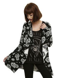 Black & Ivory Hamsa Hand Girls Flyaway Cardigan, BLACK
