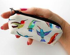 Hummers Delight Mini Key Chain Zipper Pouch ECO Friendly Padded Lip Balm Case by JPATPURSES