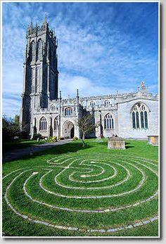 St Johns Church in Glastonbury, England and modern stone labyrinth.