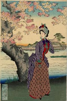 Chikanobu Toyohara, The Meiji Ladies visit with the Emperor, 1880s
