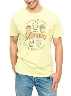 Junk Food The Avengers Official Member Super Hero Club Vintage Yellow Mens T-shirt