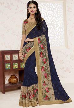 #Blue #Brasso,#Georgette #Designer #Saree #nikvik  #usa #designer #australia #canada #freeshipping #saris