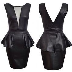 #Peplum Leather Dress