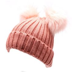 Women's Winter Chunky Knit Double Pom Pom Beanie Hat With Hair Tie. (€14) ❤ liked on Polyvore featuring accessories, hats, pink hat, pom pom beanie hat, beanie hat, beanie caps and pink pom pom beanie
