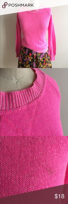 Gap Neon Pink Nylon Blend Crewneck Knit Sweater! Measures 40 bust, 25 from top to bottom and 34 sleeves! Has slight discoloration very small from pin, good condition! Nice worn in saturated with color! GAP Sweaters Crew & Scoop Necks
