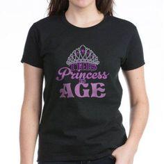 Cafepress Personalized Birthday Princess Women's Dark T-Shirt, Size: XL, Black