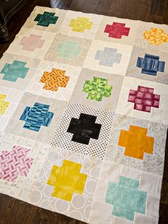 Use low volume prints instead of a solid neutral background (quilt by bijou lovely)