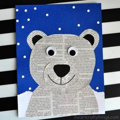 This newspaper polar bear craft is perfect for a winter kids craft, preschool craft, newspaper craft and arctic animal crafts for kids. This newspaper polar. Make a newspaper polar bear wall hanging or card with the kids! 50 super cute winter crafts for k Animal Crafts For Kids, Winter Crafts For Kids, Winter Kids, Preschool Winter, Crafts To Do, Kids Crafts, Sea Crafts, Penguin Craft, Polar Bear Crafts