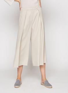 Woven wool trouser skirt, ecru | Trousers and Skirts | Clothing ...