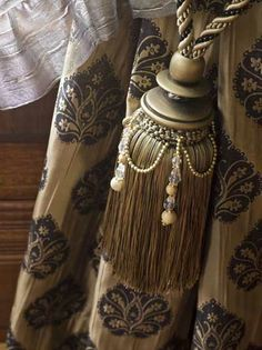 Tassel tie backs with luxurious beads- Drapery Tie Backs, Curtain Tie Backs, Drapes And Blinds, Drapes Curtains, Lace Weave, Textured Yarn, Gold Bedroom, Passementerie, Velvet Curtains