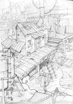 Ideas landscape artists character design for 2019 Line Drawing, Drawing Sketches, Environment Sketch, Background Drawing, Architecture Drawings, Urban Sketching, Environmental Art, Colouring Pages, Line Art
